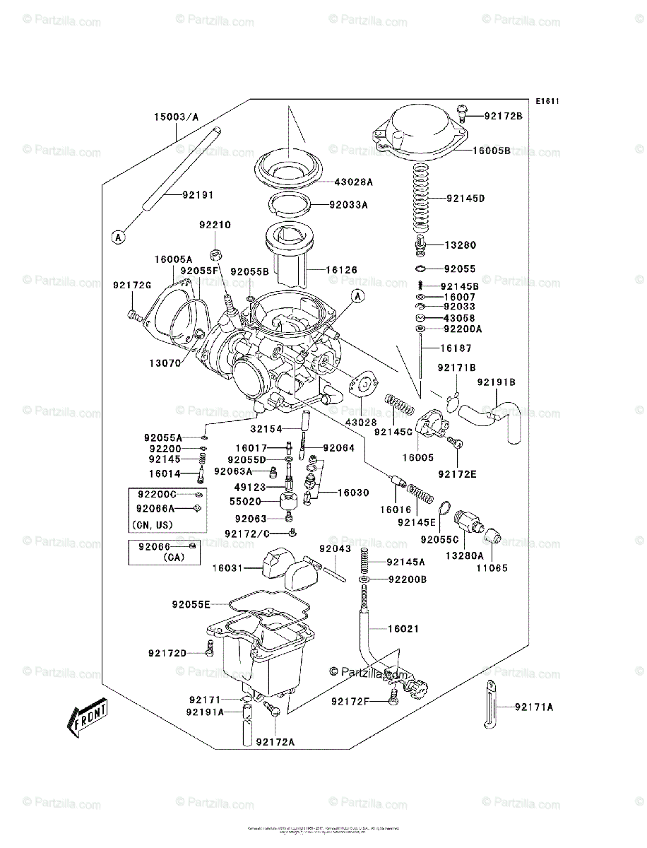 Kawasaki ATV 2003 OEM Parts Diagram for Carburetor (A1