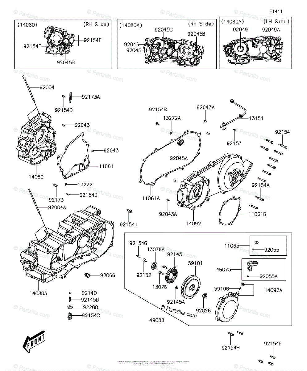 Kawasaki ATV 2018 OEM Parts Diagram for Crankcase(2/2