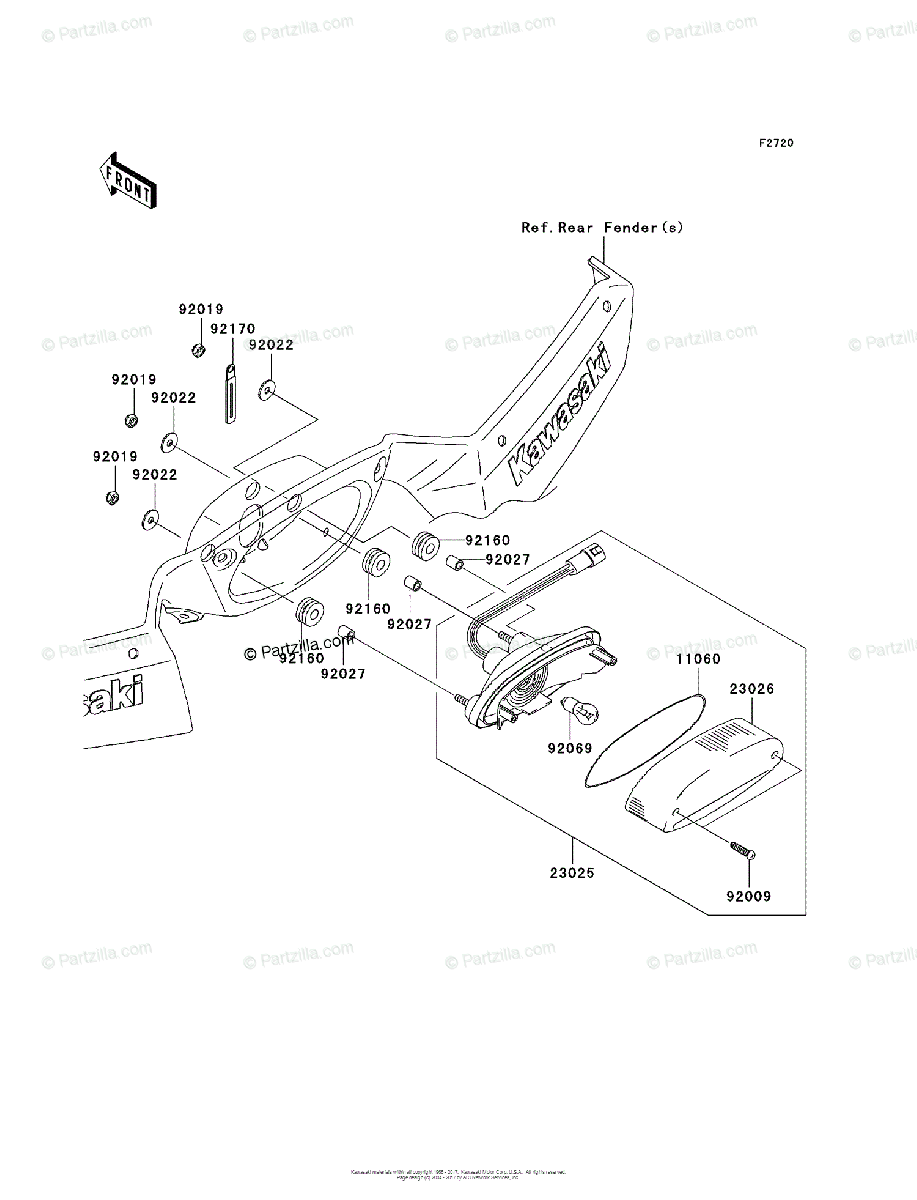 Kawasaki ATV 2007 OEM Parts Diagram for Taillight(s