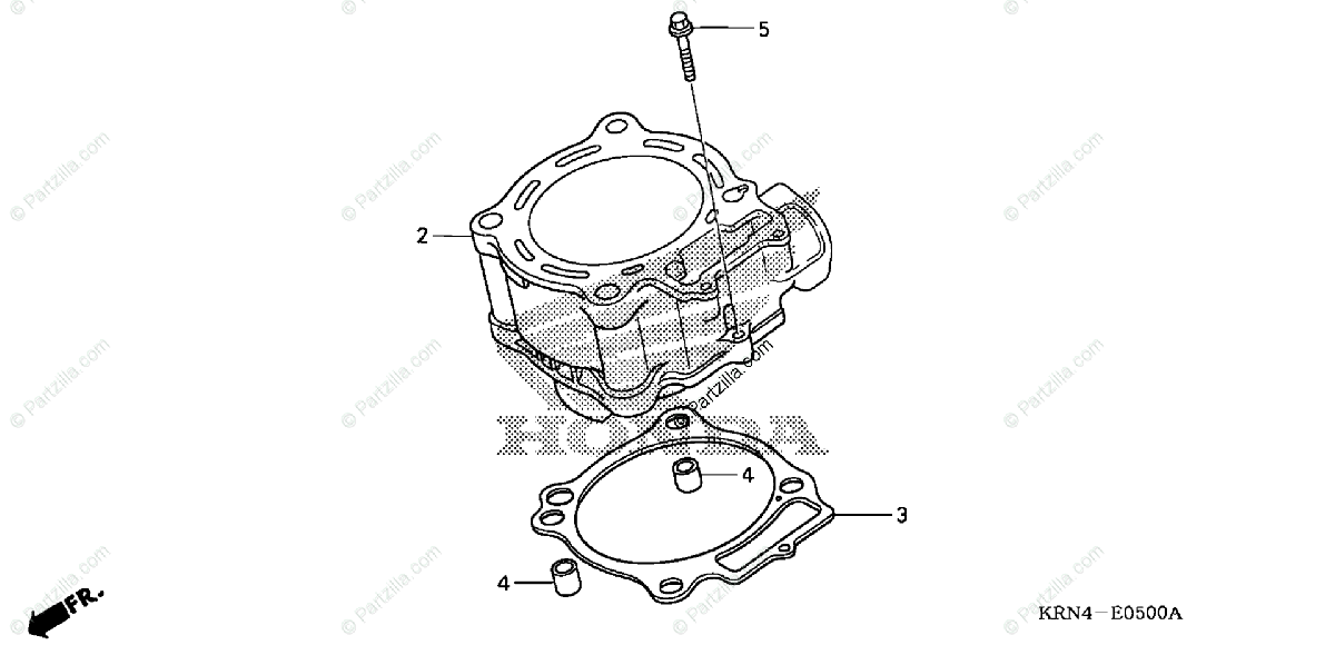 Honda Motorcycle 2004 OEM Parts Diagram for Cylinder