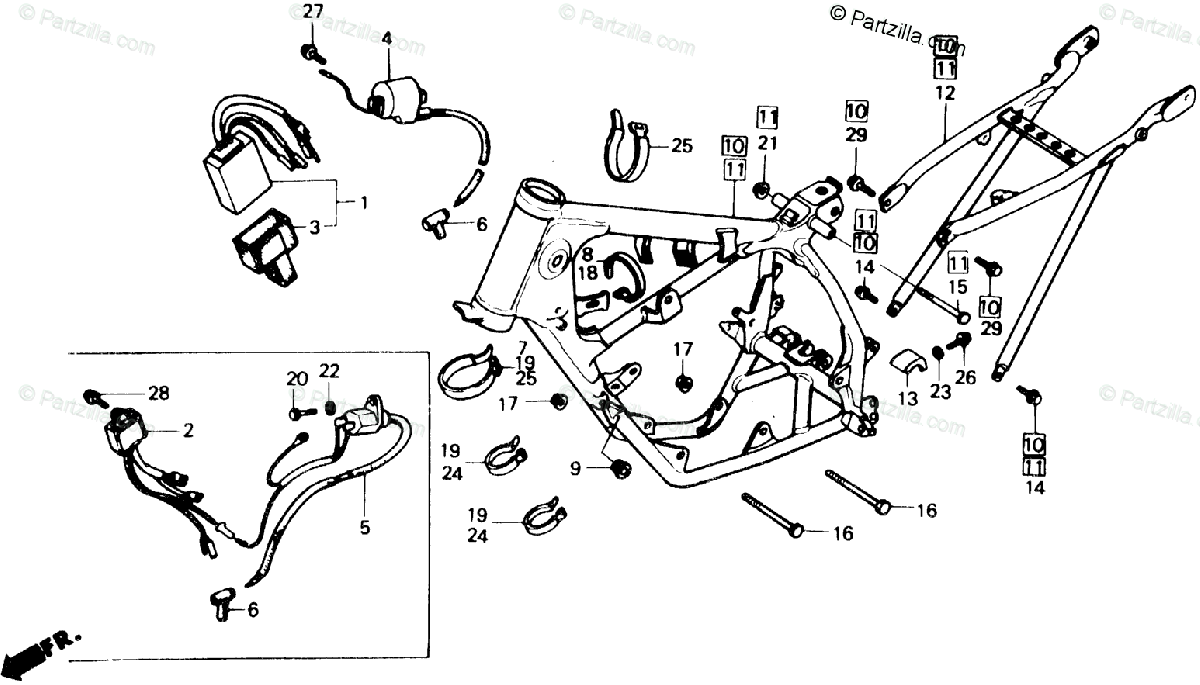 Honda Motorcycle 1985 OEM Parts Diagram for Frame