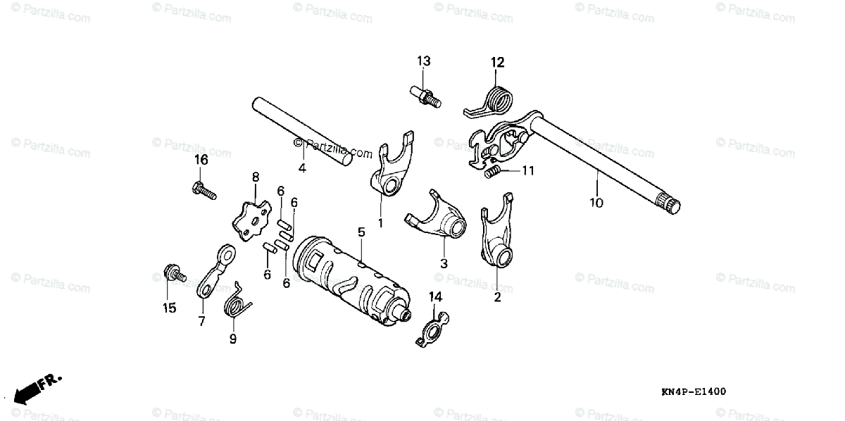 Honda Motorcycle 2004 OEM Parts Diagram for Gearshift Drum