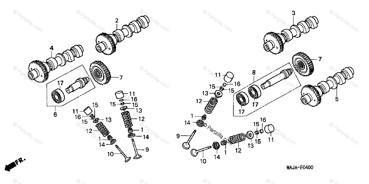 Honda Motorcycle 2000 OEM Parts Diagram for Camshaft/Valve