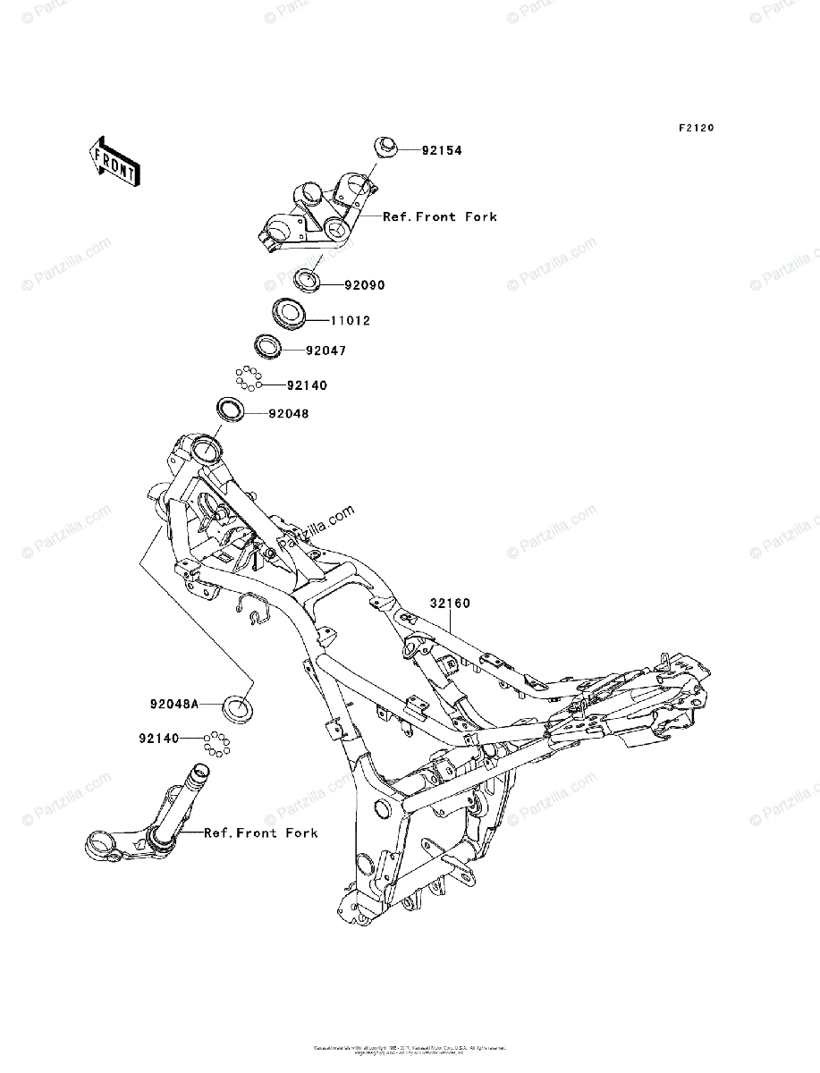 Kawasaki Motorcycle 2013 OEM Parts Diagram for Frame