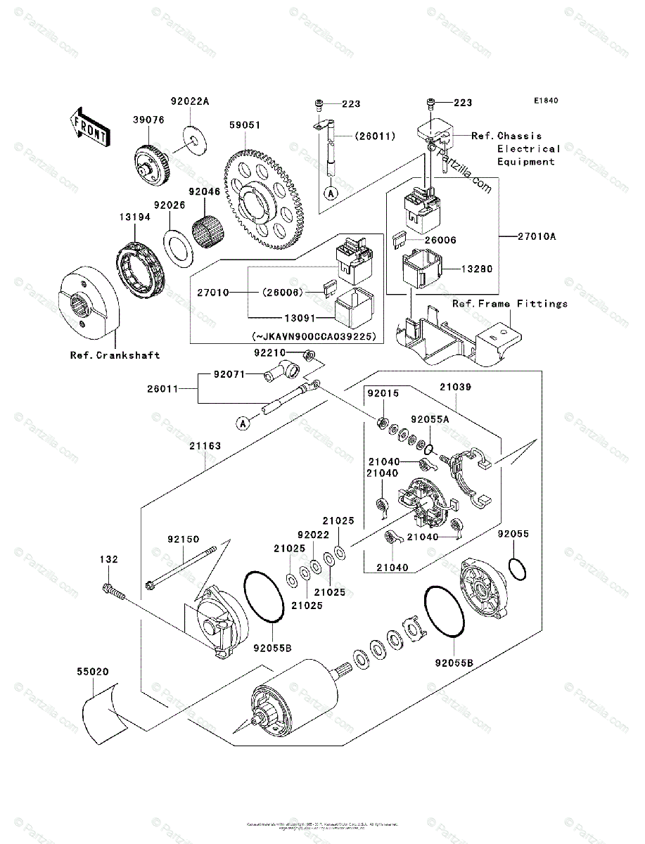 Kawasaki Motorcycle 2006 OEM Parts Diagram for Starter