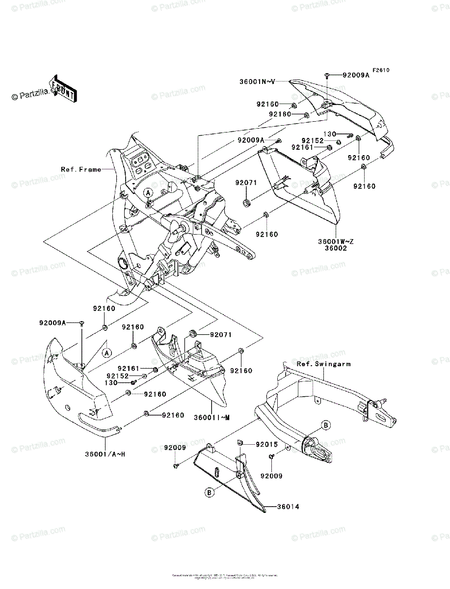 Kawasaki Motorcycle 2011 OEM Parts Diagram for Side Covers