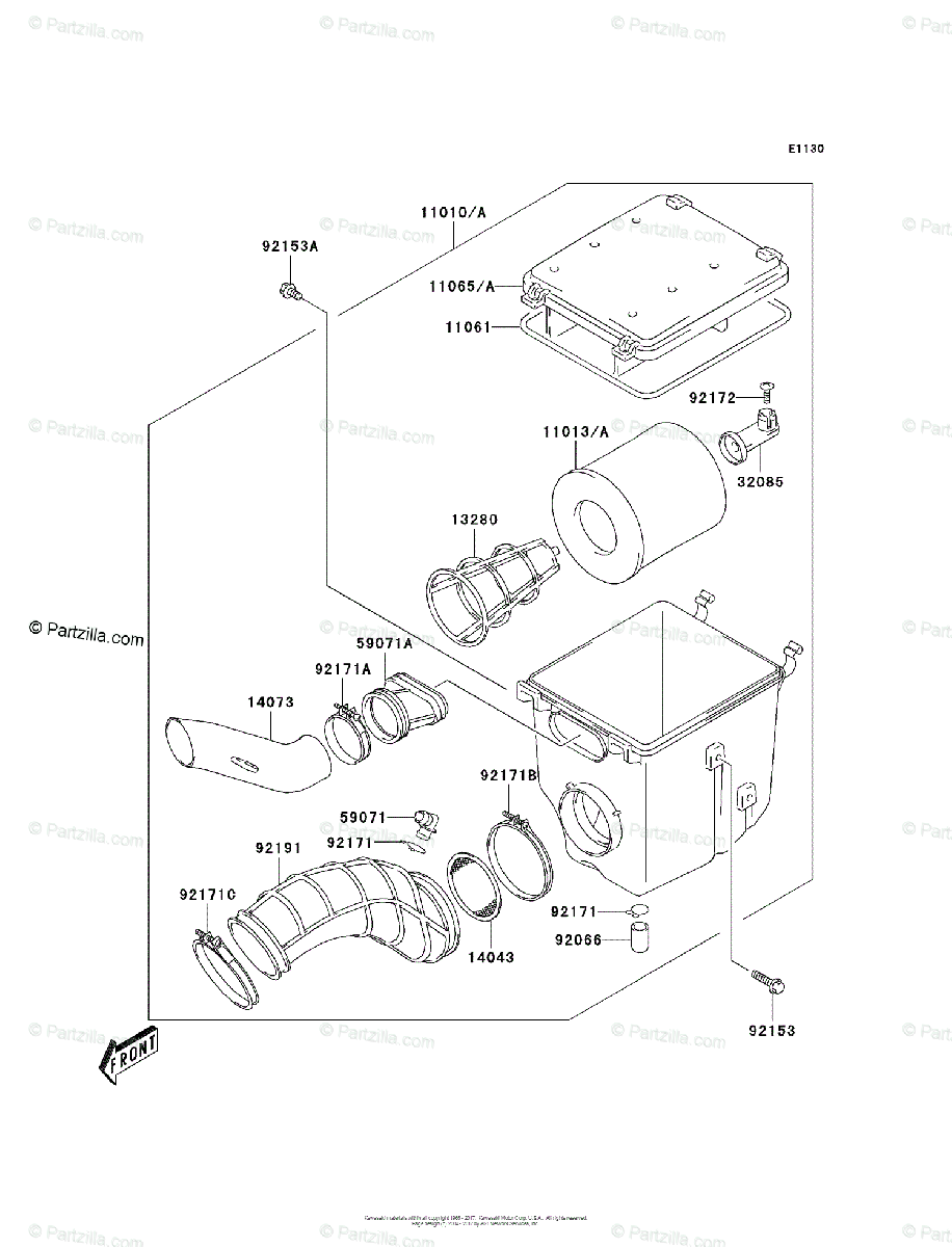 Kawasaki ATV 2004 OEM Parts Diagram for Air Cleaner