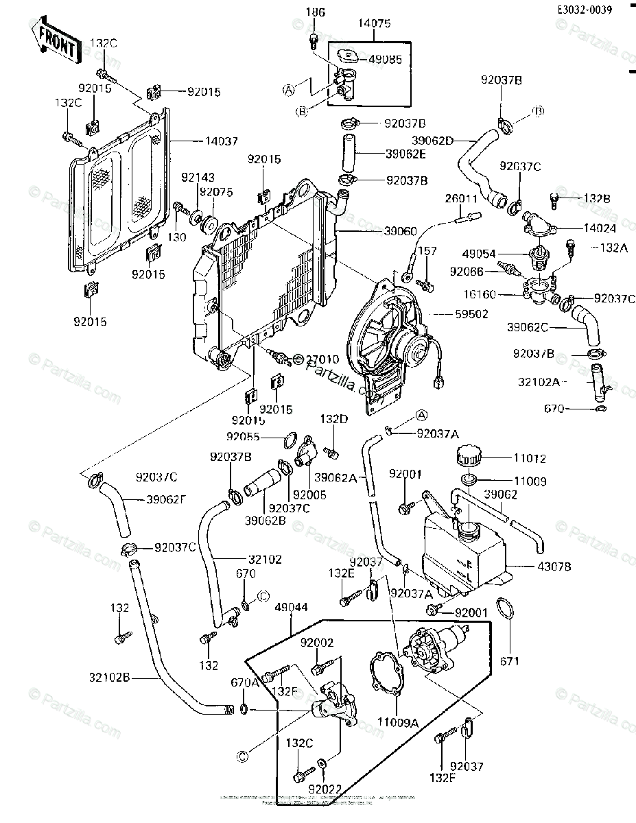 Kawasaki Motorcycle 1986 OEM Parts Diagram for Radiator