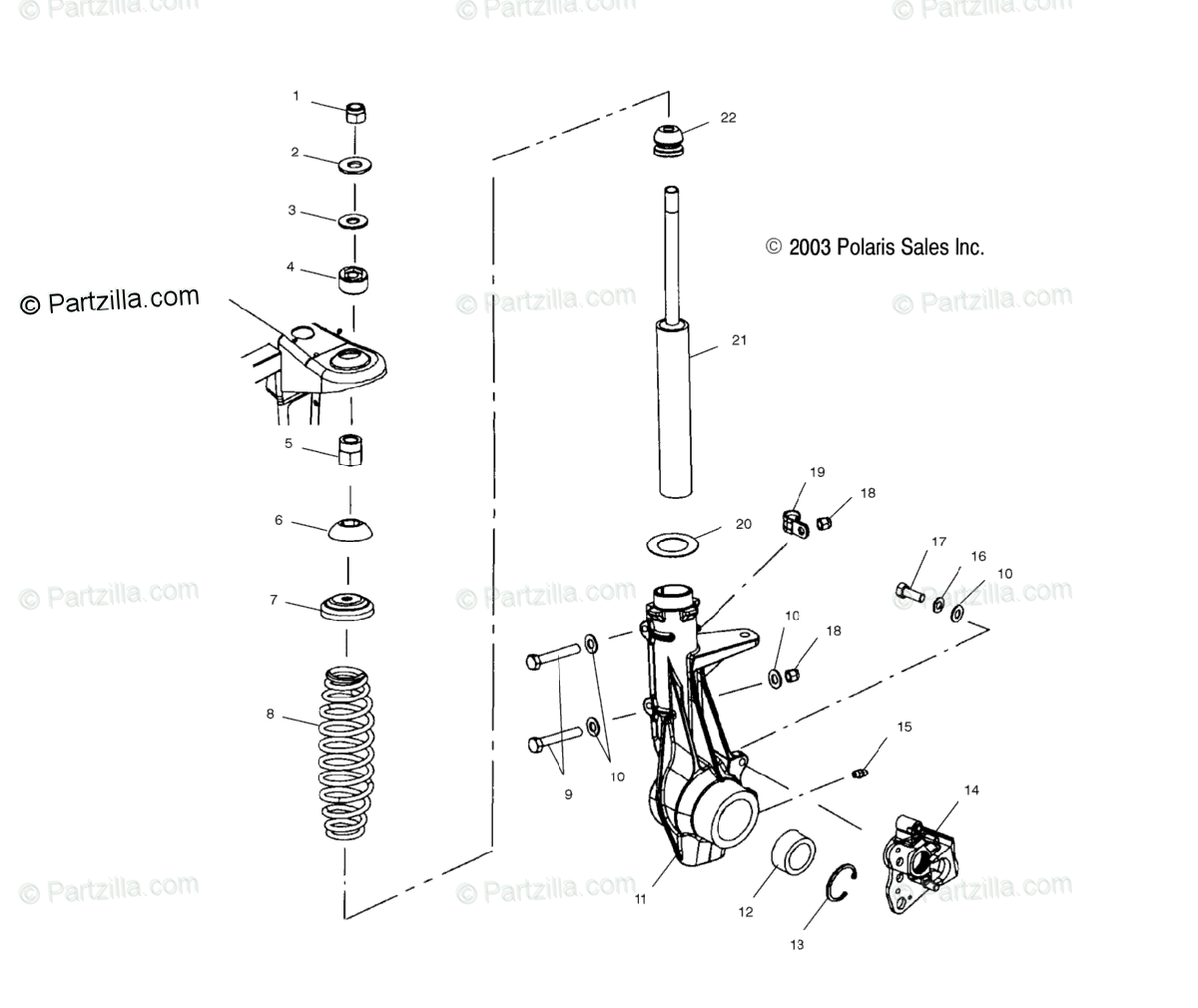 Polaris ATV 2002 OEM Parts Diagram for Front Strut