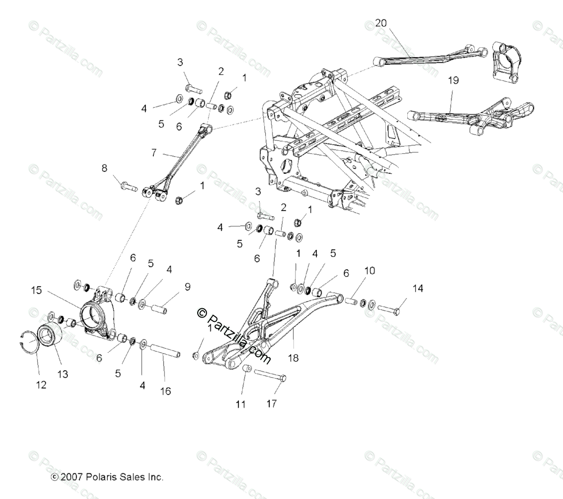 Polaris ATV 2008 OEM Parts Diagram for Suspension, Rear