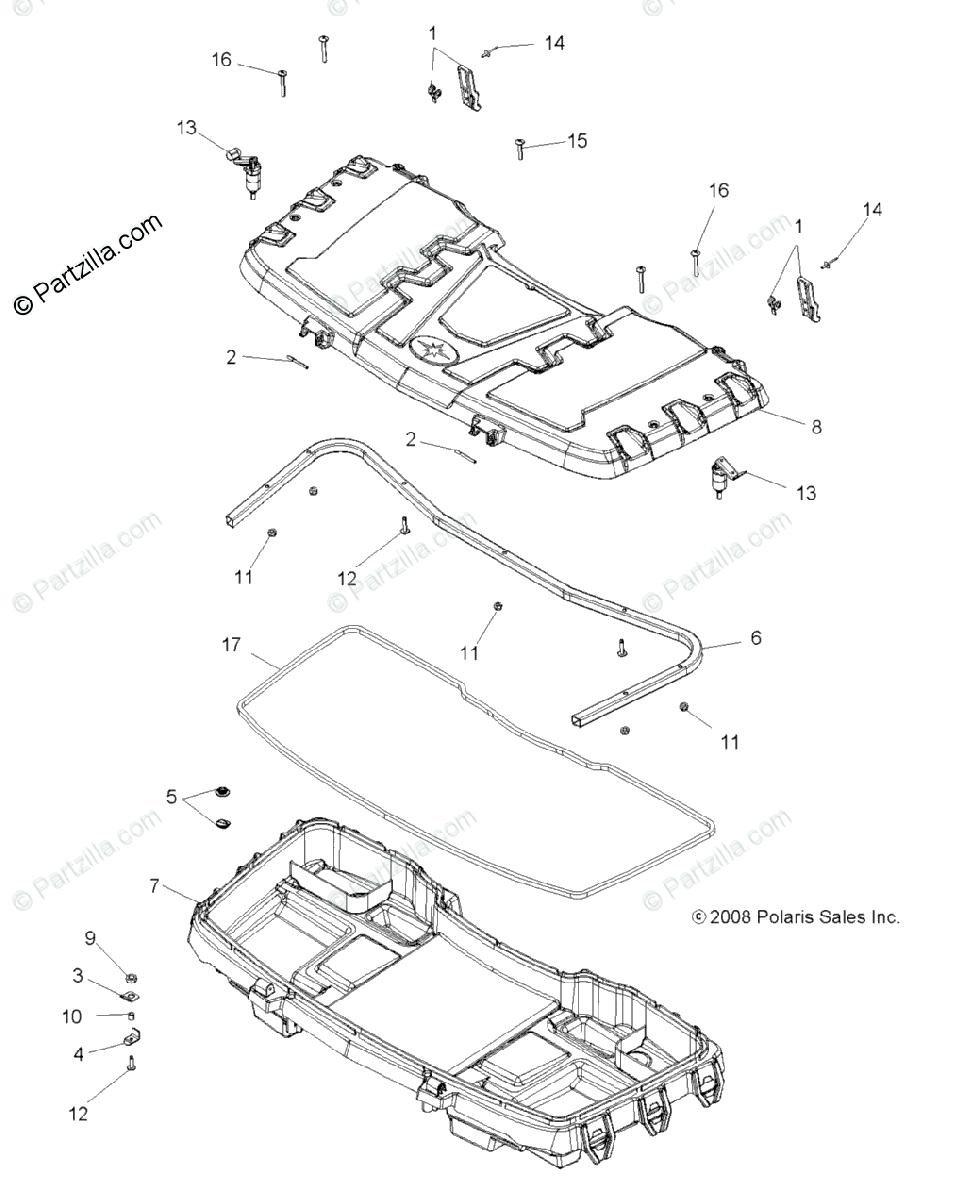Polaris ATV 2009 OEM Parts Diagram for Body, Front Cargo