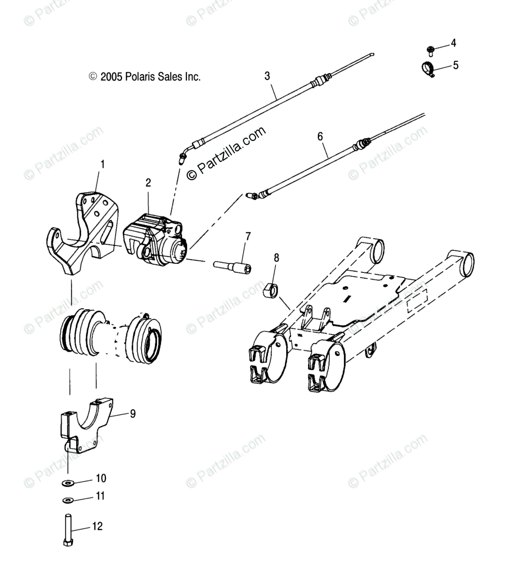 Polaris ATV 2005 OEM Parts Diagram for Rear Caliper
