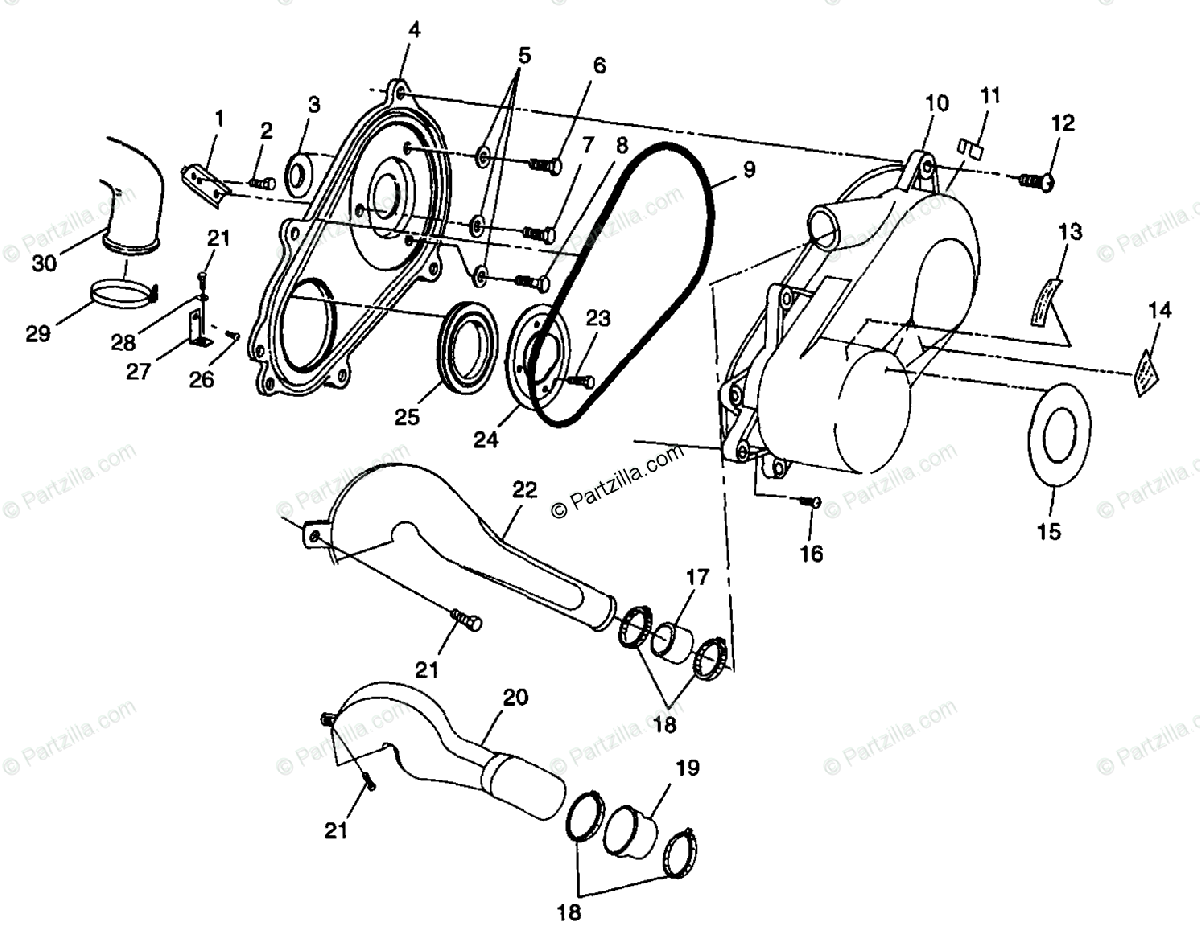 Polaris ATV 1998 OEM Parts Diagram for Clutch Cover