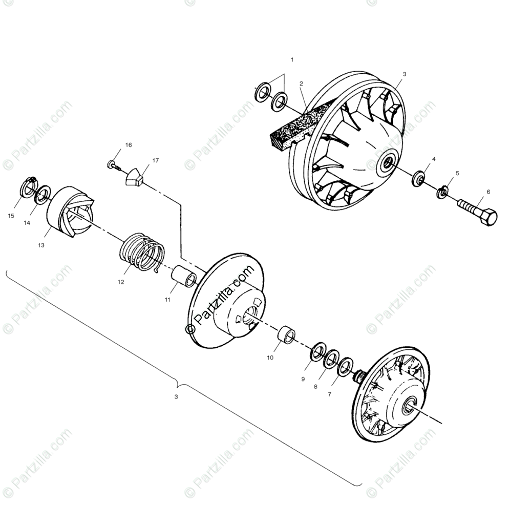 Polaris ATV 2001 OEM Parts Diagram for Driven Clutch