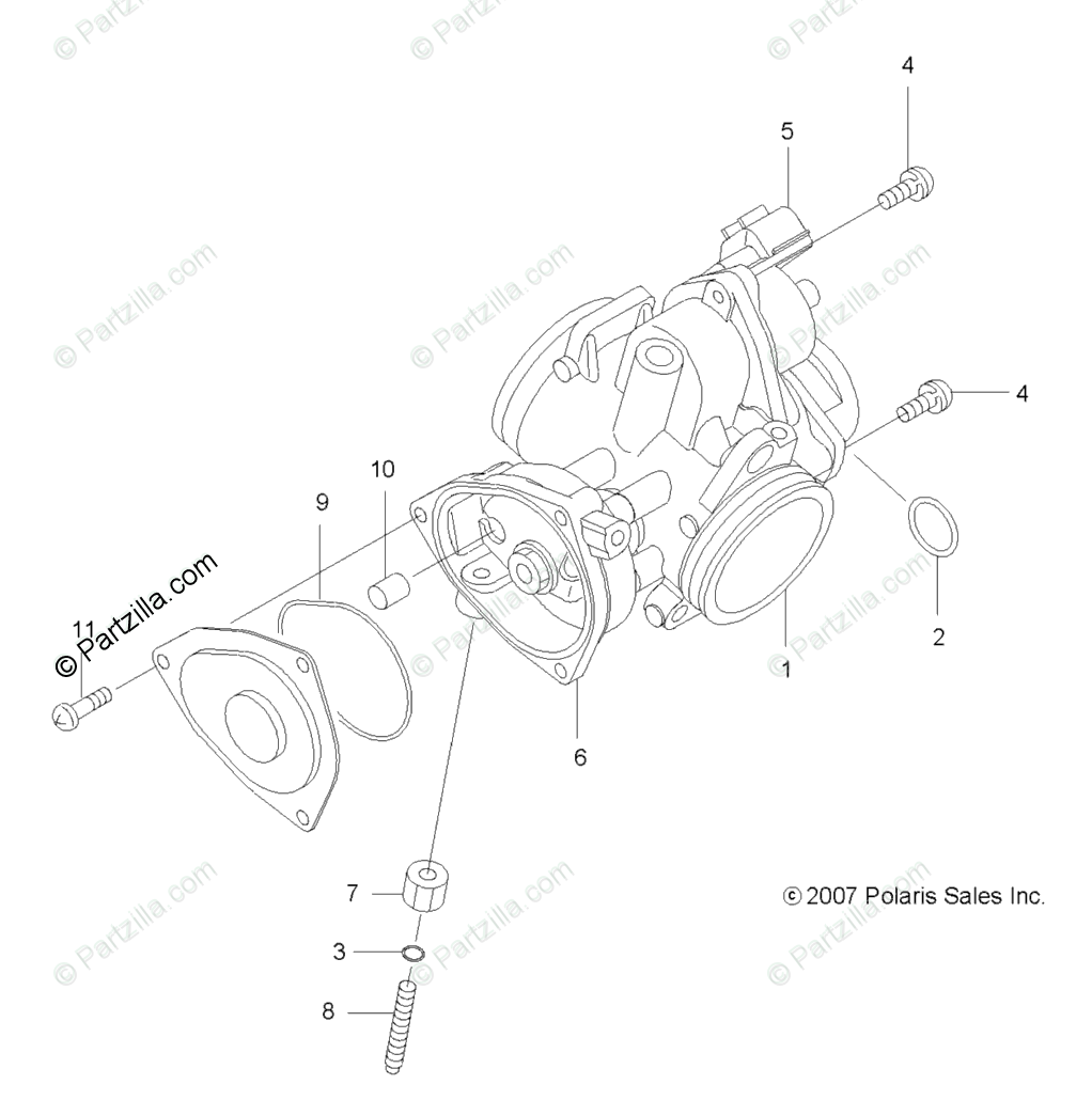 Polaris ATV 2009 OEM Parts Diagram for Engine, Throttle