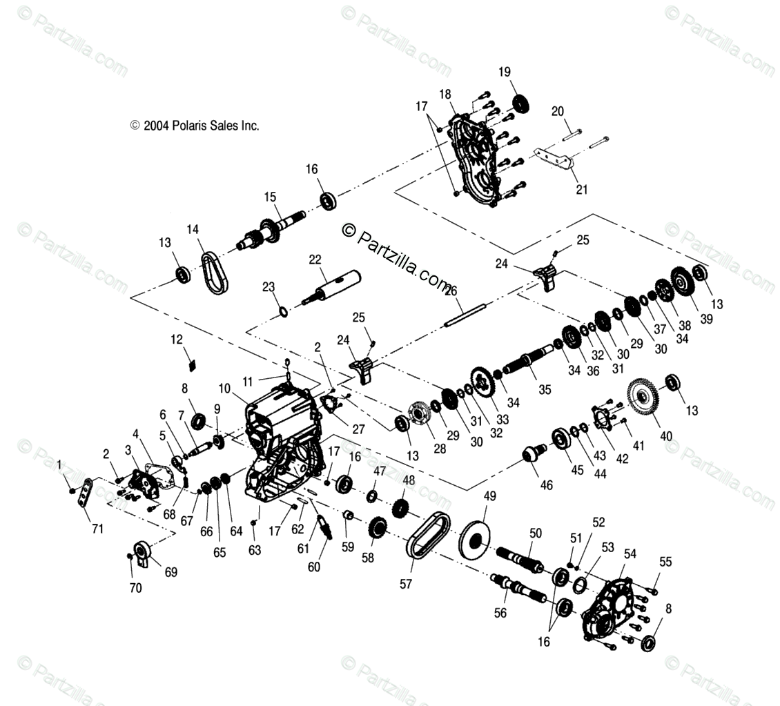 Polaris ATV 2004 OEM Parts Diagram for Gearcase