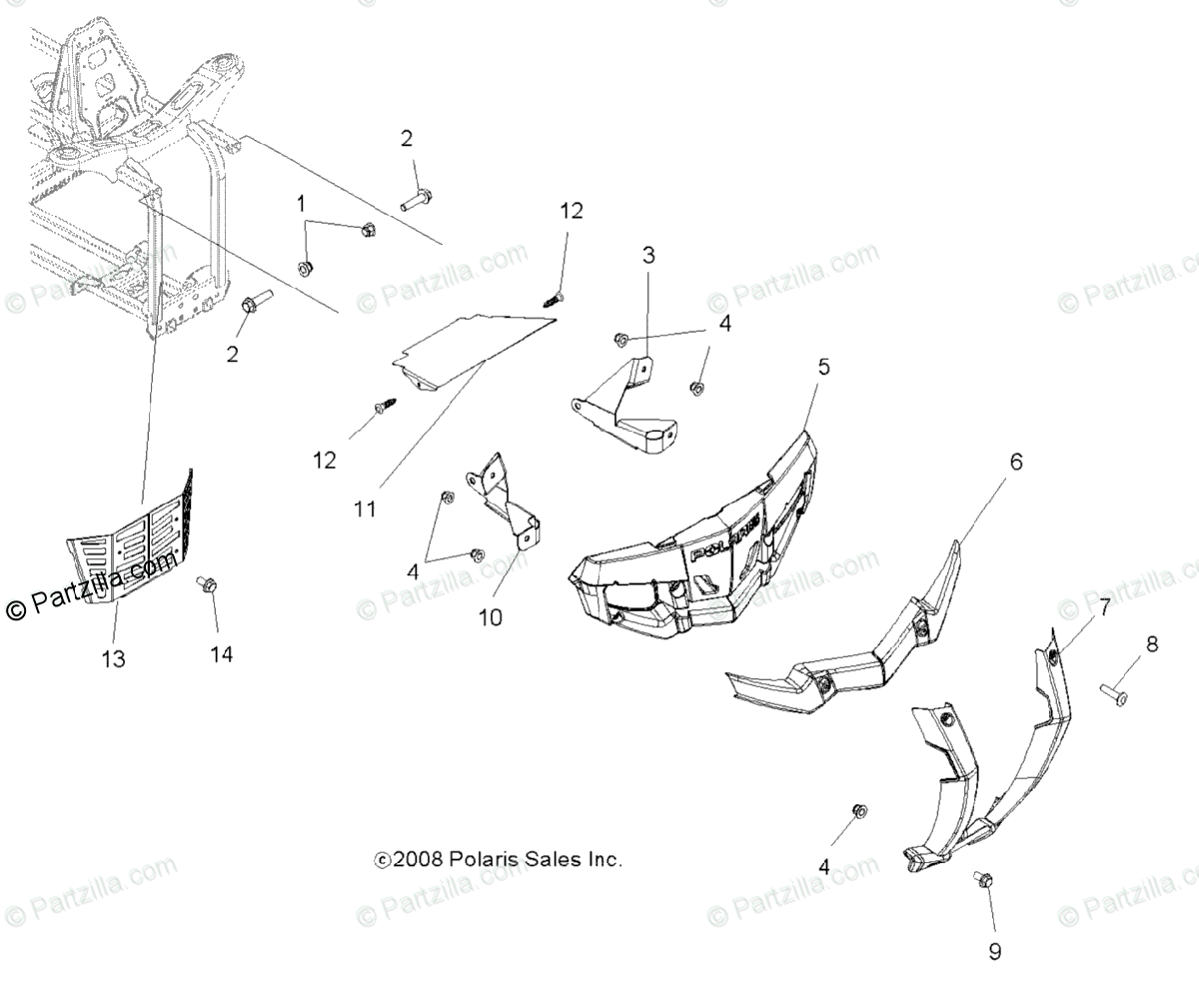 Polaris ATV 2009 OEM Parts Diagram for Body, Front Bumper