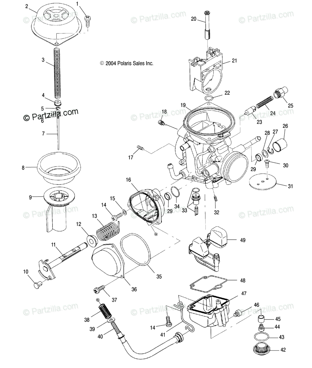 Polaris ATV 2005 OEM Parts Diagram for Carburetor /Ac/Ag