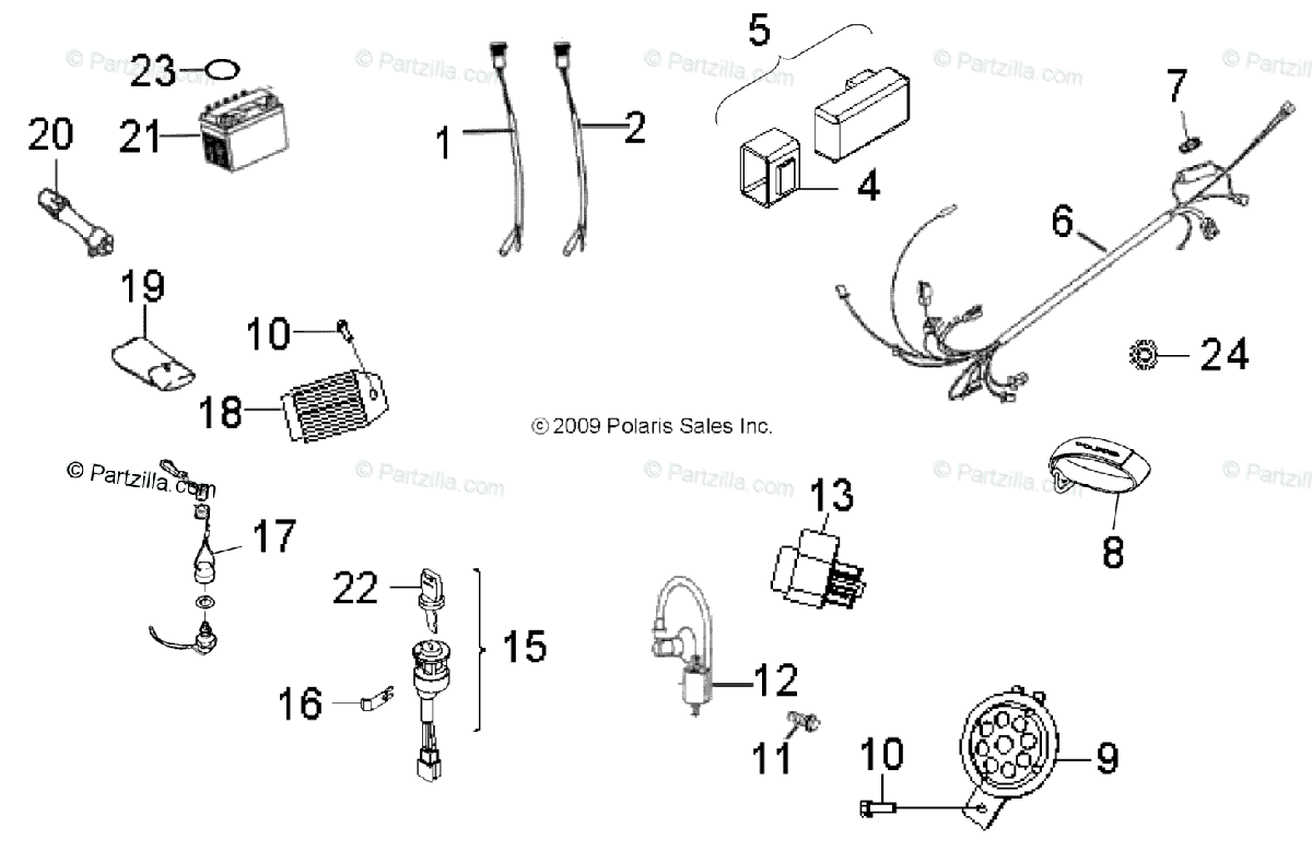 Polaris ATV 2013 OEM Parts Diagram for Electrical