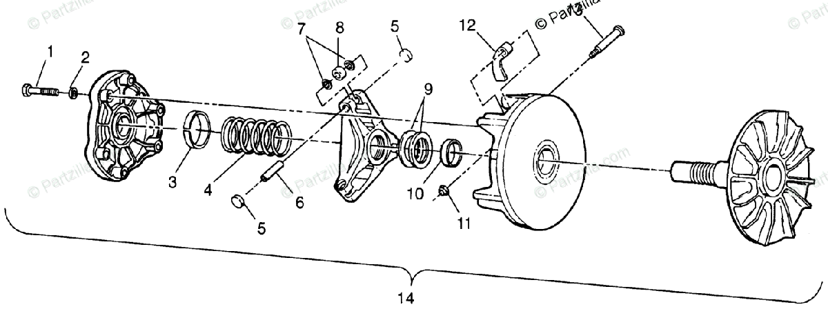 Polaris ATV 1996 OEM Parts Diagram for Drive Clutch