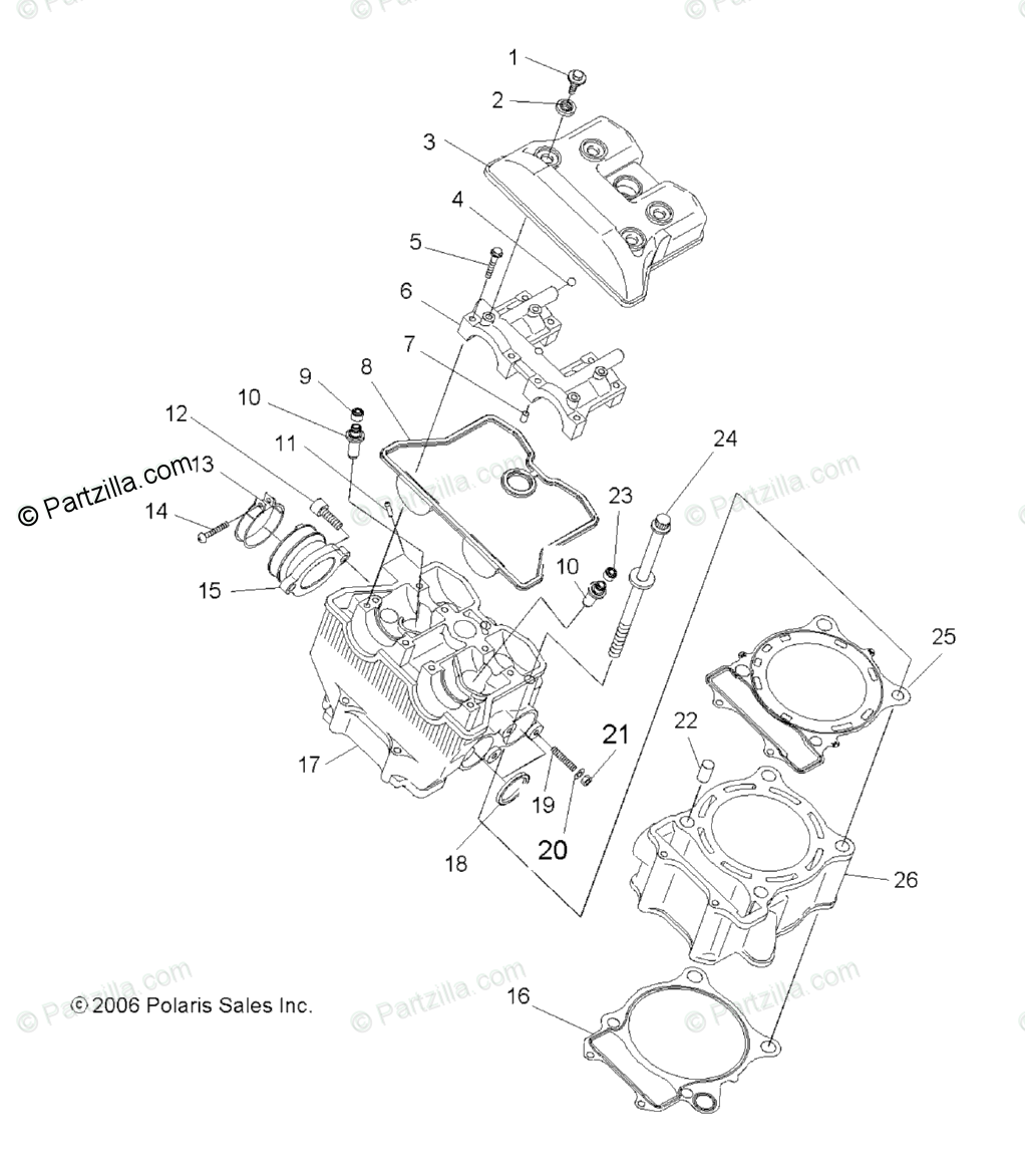 Polaris ATV 2007 OEM Parts Diagram for Engine, Cylinder