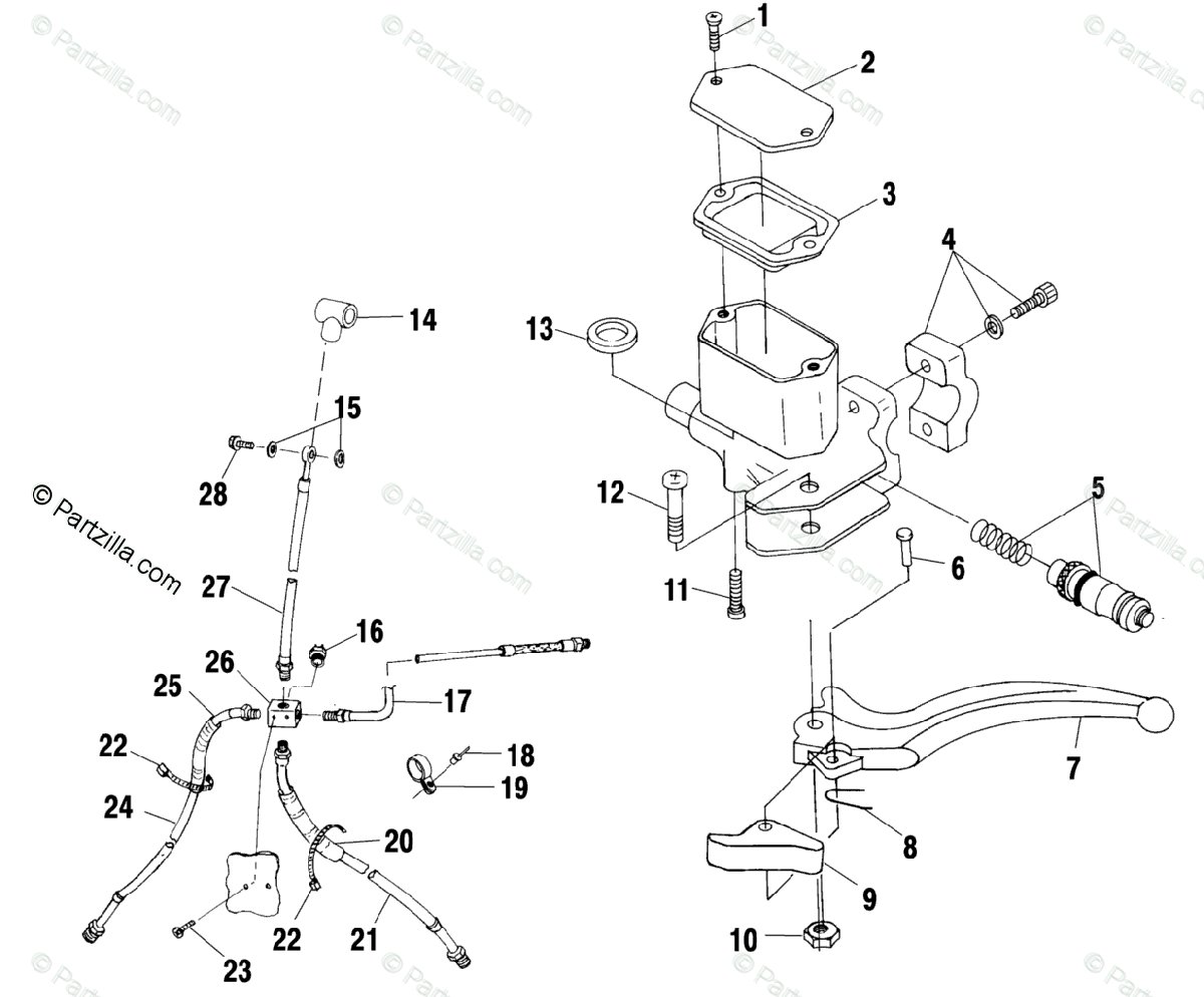 Polaris ATV 2000 OEM Parts Diagram for Controls/Master