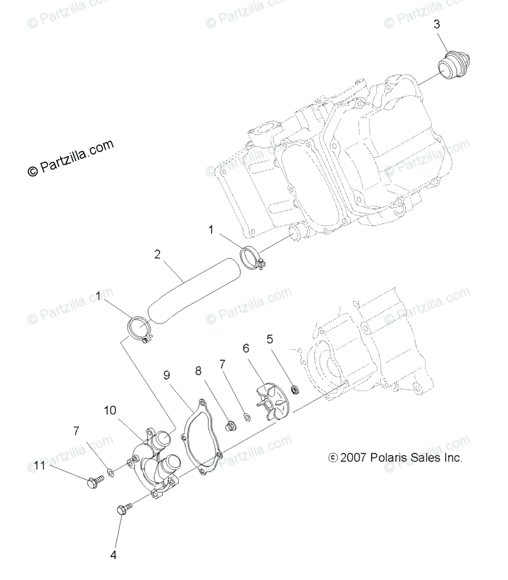 Polaris ATV 2008 OEM Parts Diagram for Engine, Water Pump