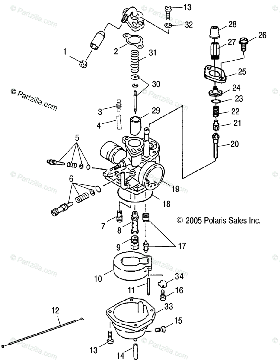Polaris ATV 2005 OEM Parts Diagram for Carburetor /Cb