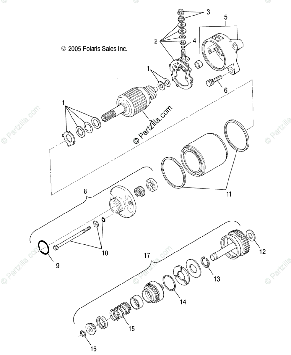 Polaris ATV 2007 OEM Parts Diagram for Engine, Starting