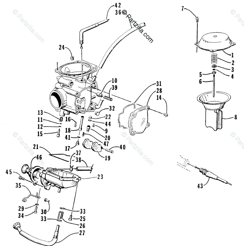 Arctic Cat ATV 2001 OEM Parts Diagram for Carburetor (400