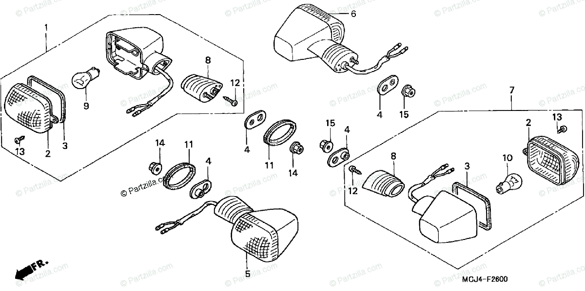 Honda Motorcycle 2002 OEM Parts Diagram for Turn Signal