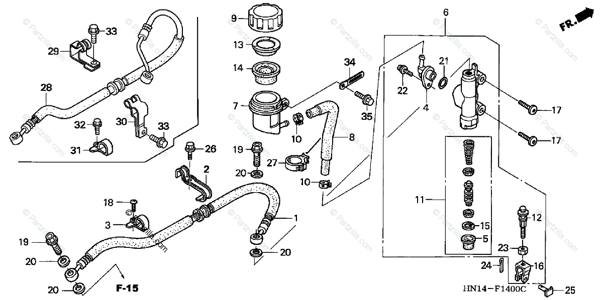 Honda ATV 2004 OEM Parts Diagram for Rear Brake Master