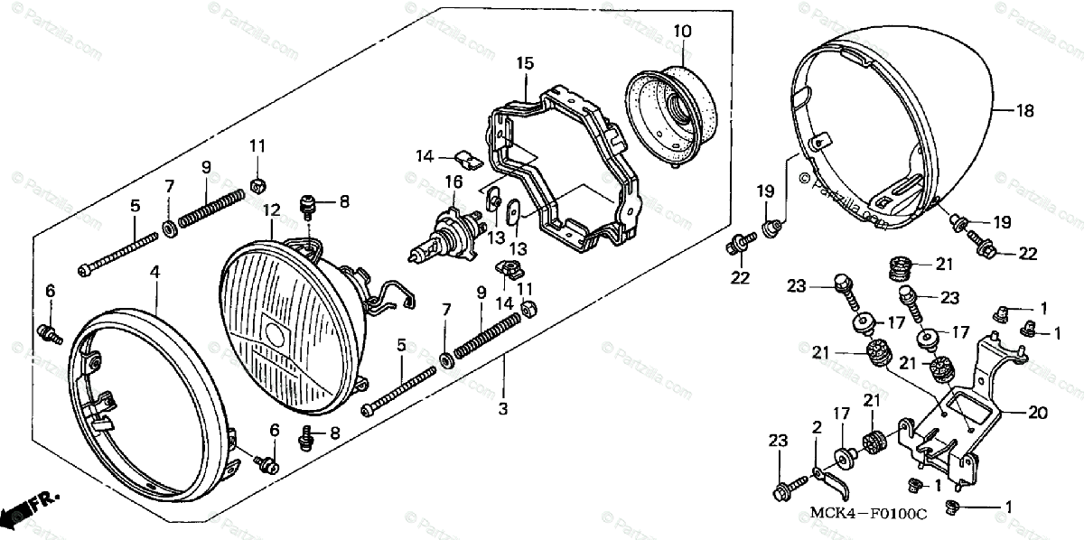 Honda Motorcycle 2001 OEM Parts Diagram for Headlight