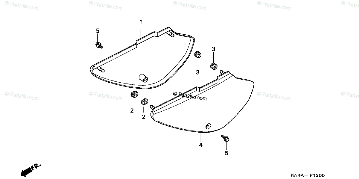 Honda Motorcycle 2003 OEM Parts Diagram for Side Cover