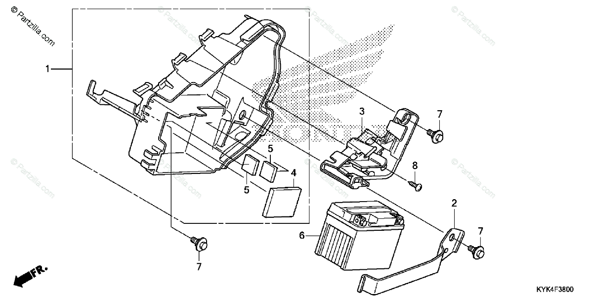 Honda Motorcycle 2014 OEM Parts Diagram for Battery