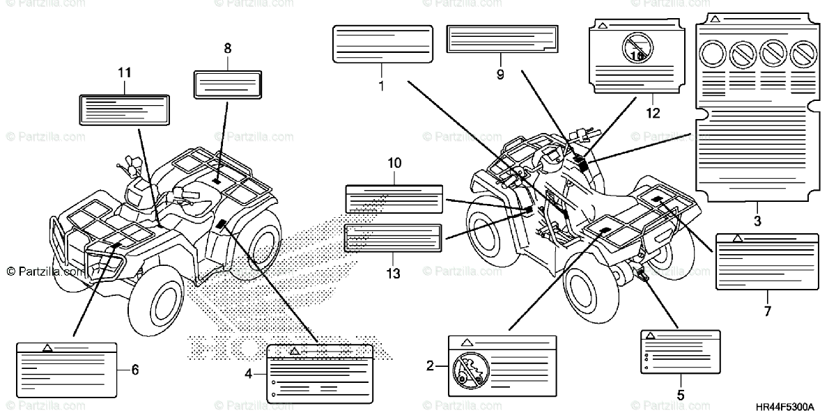 Honda ATV 2015 OEM Parts Diagram for Caution Label