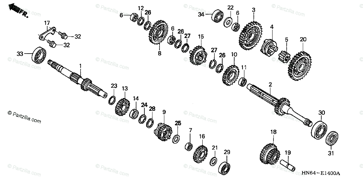 Honda ATV 2007 OEM Parts Diagram for Transmission