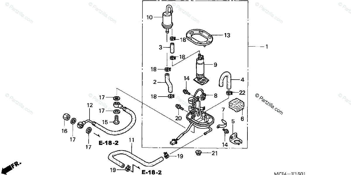 Honda Motorcycle 2002 OEM Parts Diagram for FUEL PUMP (2