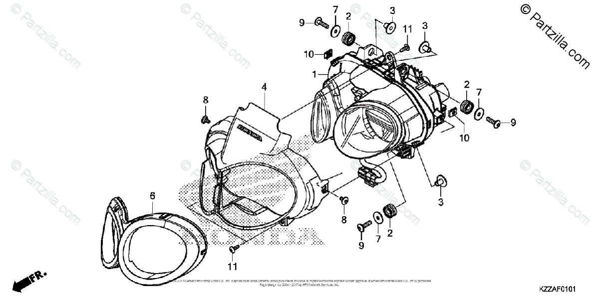 Honda Motorcycle 2017 OEM Parts Diagram for Headlight 2