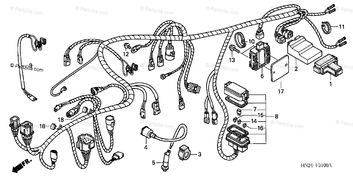 Honda ATV 2001 OEM Parts Diagram for Wire Harness