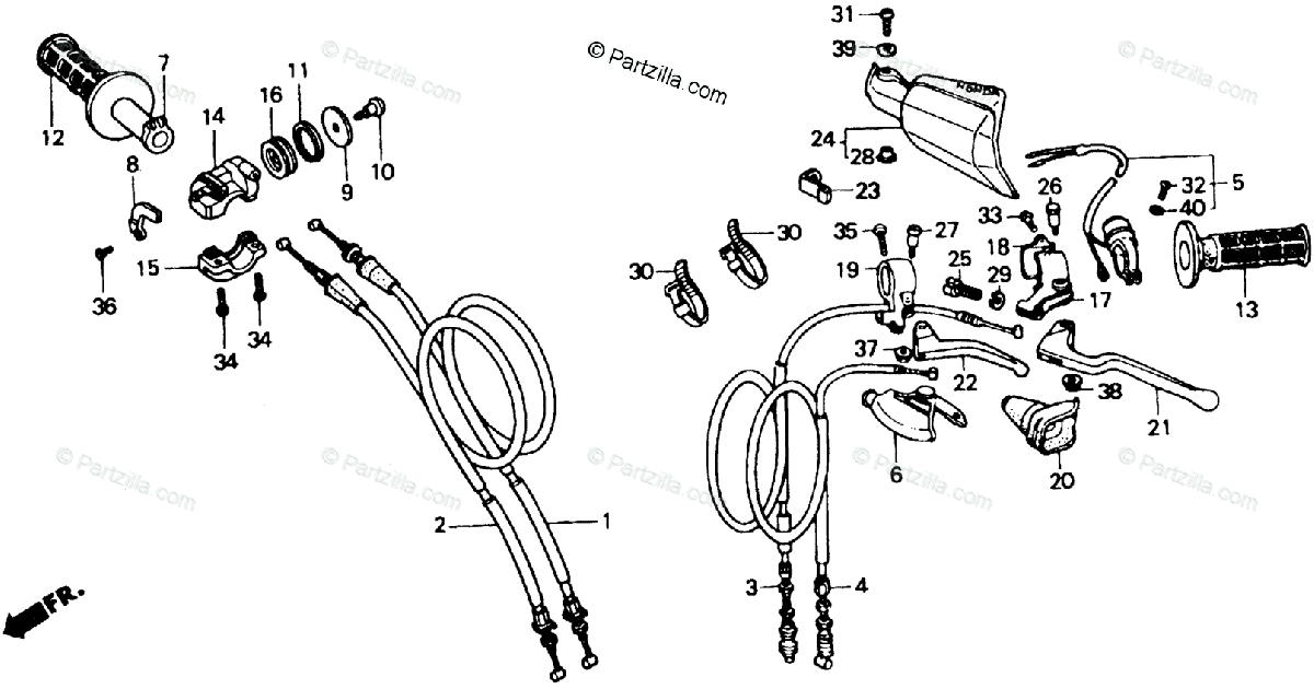 Honda Motorcycle 1992 OEM Parts Diagram for Handle Switch