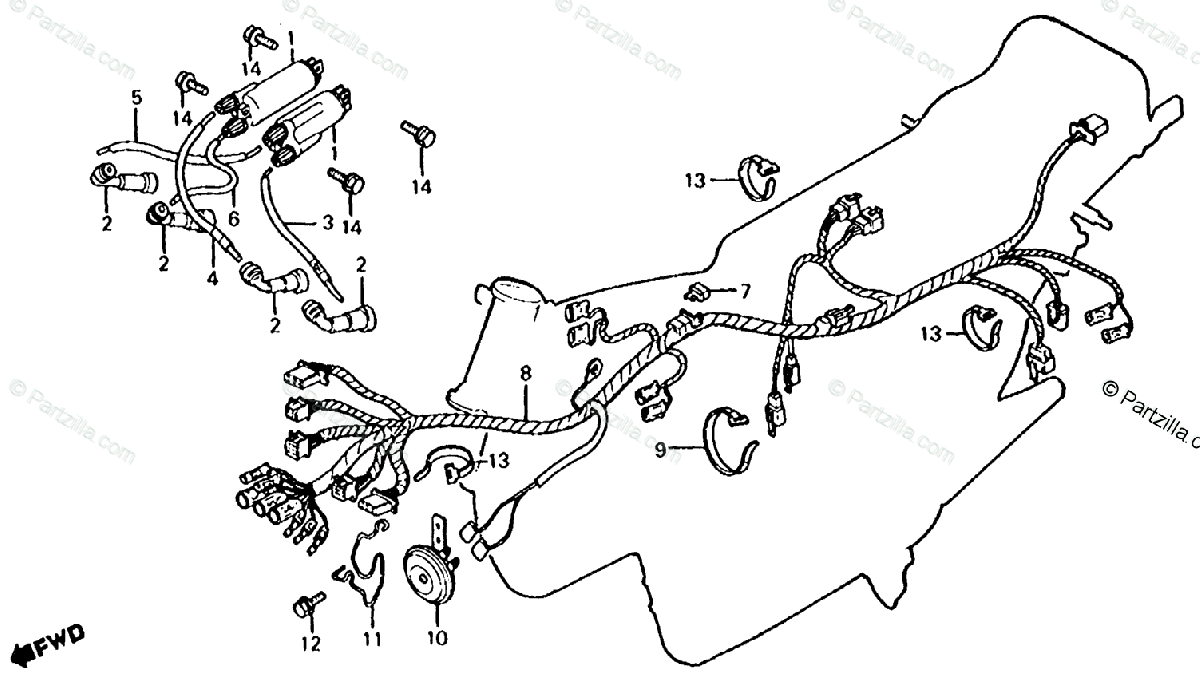Honda Motorcycle 1981 OEM Parts Diagram for Wire Harness