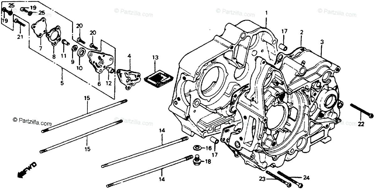 Honda Motorcycle 1980 OEM Parts Diagram for Crankcase