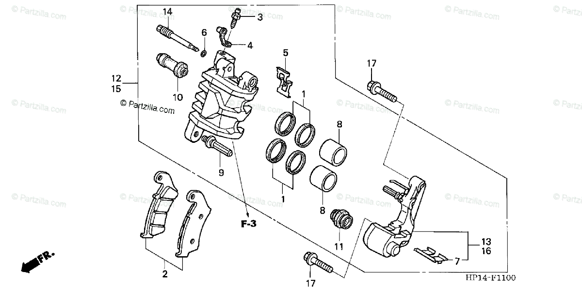 Honda ATV 2005 OEM Parts Diagram for Front Brake-Caliper