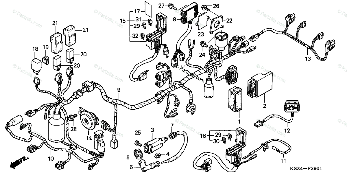 Honda Scooter 2004 OEM Parts Diagram for WIRE HARNESS (ABS