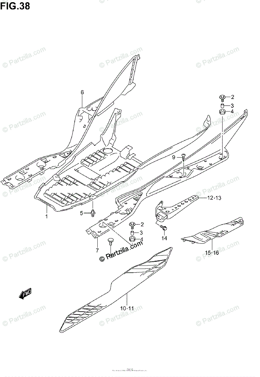 Suzuki Scooter 2003 OEM Parts Diagram for Rear Leg Shield