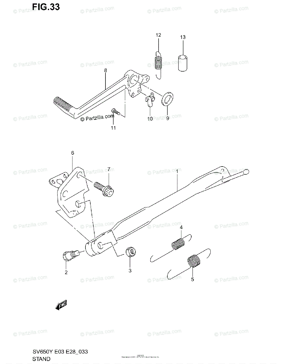 Suzuki Motorcycle 2001 OEM Parts Diagram for Stand