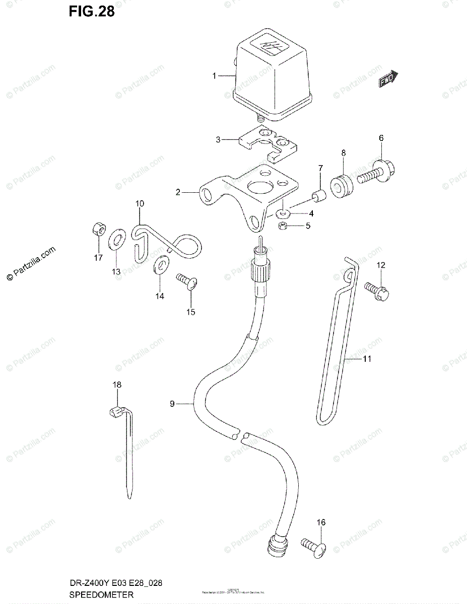Suzuki Motorcycle 2000 OEM Parts Diagram for Speedometer