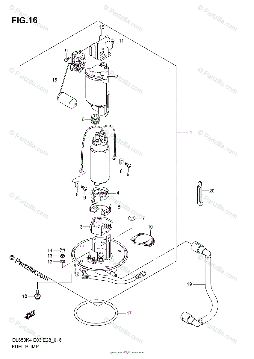 Suzuki Motorcycle 2006 OEM Parts Diagram for FUEL PUMP