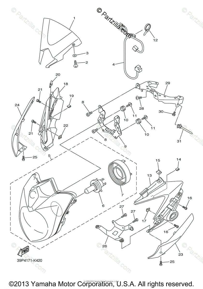 Yamaha Motorcycle 2012 OEM Parts Diagram for Headlight
